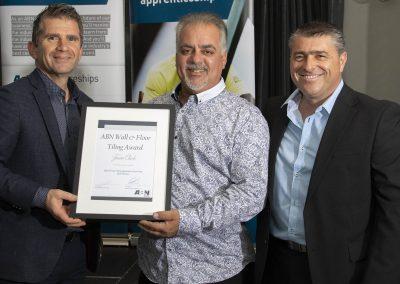Marco Matteo receiving Jaxon Clark's award